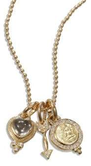 Temple St. Clair Rock Crystal, Diamond& 18K Yellow Gold Amore Triple Charm Necklace