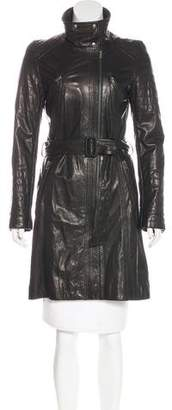 Gerard Darel Leather Knee-Length Coat