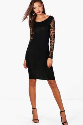 boohoo Tall Susie Lace Sleeve Mini Bodycon Dress
