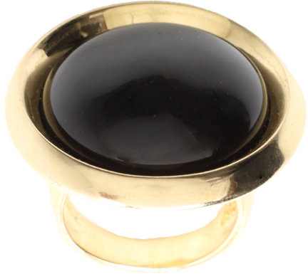 House of Harlow 1960 14ct Gold Plated Black Resin Dome Ring