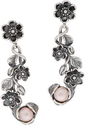 Or Paz Sterling Cultured Pearl Floral Dangle Earrings