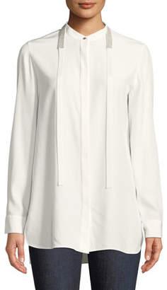 Lafayette 148 New York Cayman Tie-Collar Matte Silk Blouse