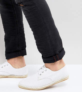 Asos Design Wide Fit Lace Up Espadrilles In White Textured Canvas