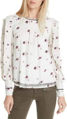 Joie Leihla Embellished Floral Blouse
