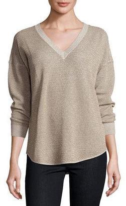 Joie Chyanne Metallic V-Neck Sweater, Mushroom/Bronze $268 thestylecure.com