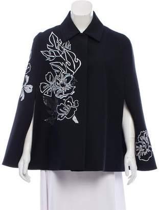 Fendi Embroidered Wool & Silk Cape w/ Tags