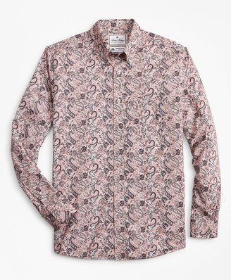 Brooks Brothers Luxury Collection Milano Slim-Fit Sport Shirt, Button-Down Collar Paisley Print