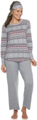 Croft & Barrow Women's Printed 3-piece Tee & Pants Pajama Set