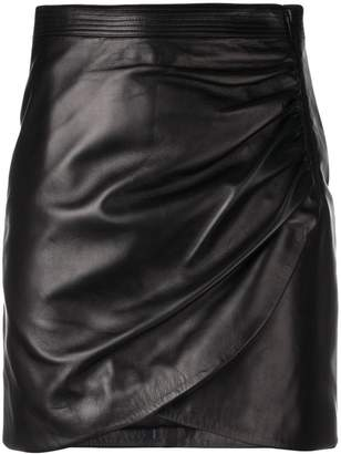 Givenchy leather wrap front mini skirt