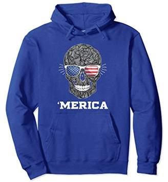 Merica Usa American Flag Skull Cool 4th of July Gift Hoodie