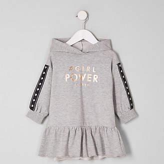 River Island Mini girls grey 'power' sweat dress