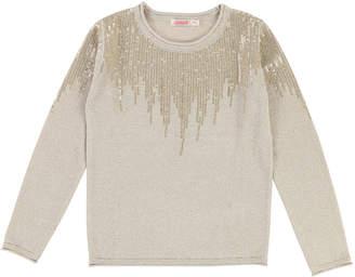 Billieblush Long-Sleeve Lurex Knit Sequin Top, Size 4-8