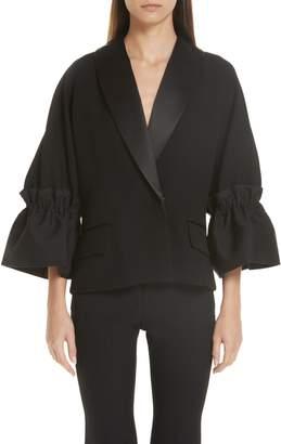 Roksanda Zenitha Cinch Elbow Sleeve Tuxedo Jacket