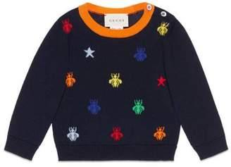 Gucci Baby bees and stars jacquard merino sweater