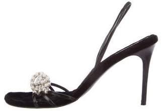 Rene Caovilla Pearl-Embellished Slingback Sandals