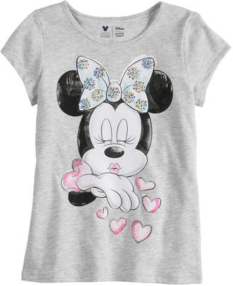 Disney Minnie Mouse Girls 4-7 Kissing Tee By Jumping Beans