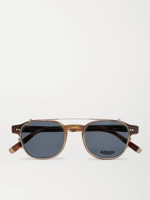 MOSCOT Arthur Round-Frame Tortoiseshell Acetate Optical Glasses with Clip-On UV Lenses - Men - Tortoiseshell