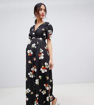 c1eae5972884b Asos DESIGN Maternity button through maxi tea dress in floral jacquard