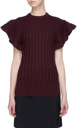 Victoria Beckham VICTORIA, Flared ruffle sleeve wool rib knit sweater