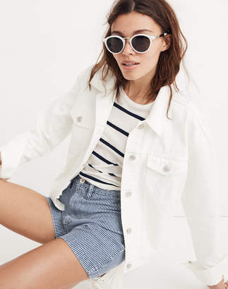 Madewell The Boxy-Crop Jean Jacket in Tile White