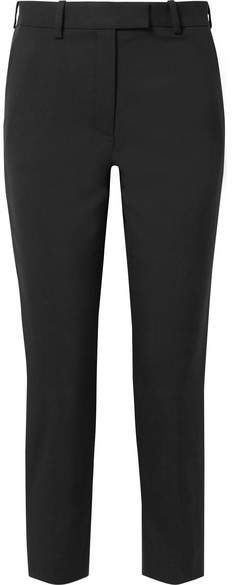 Racil - Aries Cropped Satin-trimmed Wool-piqué Tapered Pants - Black
