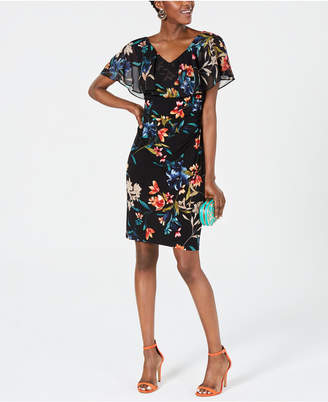 Connected Floral-Print Popover Sheath Dress