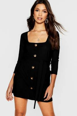 boohoo Horn Button Square Neck Pocket Detail Shift Dress