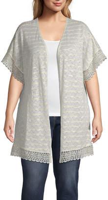 A.N.A Womens Short Sleeve Cardigan-Plus