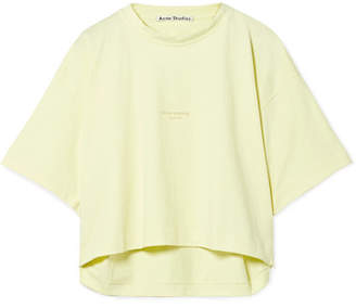 Acne Studios Cylea Cropped Printed Cotton T-shirt - Pastel yellow