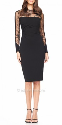 David Meister Detailed Illusion Long Sleeve Cocktail Dress $495 thestylecure.com