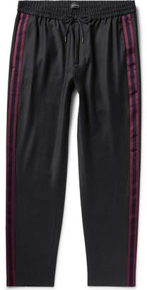 Club Monaco Black Tapered Webbing-Trimmed Wool-Blend Drawstring Trousers