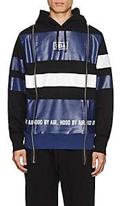Hood by Air MEN'S LOGO STRIPED COTTON TERRY HOODIE-BLUE SIZE M