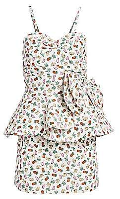 Alessandra Rich Women's Fruit Ruffled Spaghetti Strap Bodycon Dress