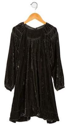 Little Marc Jacobs Girls' Silk-Blend Velvet Dress