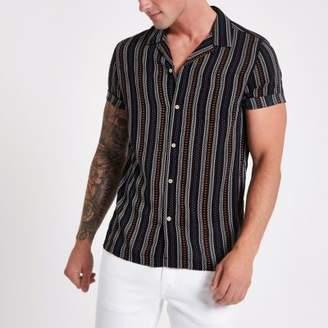 River Island Black aztec stripe print revere shirt
