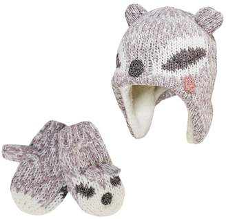 Mantaray - Girls' Grey Racoon Trapper Hat And Mittens Set
