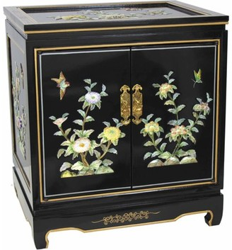 Oriental Furniture Birds and Flowers End Table in Black