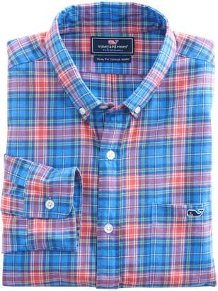Vineyard Vines Kingsley Park Plaid Performance Flannel Slim Tucker Shirt