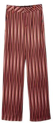 MANGO Satin striped trousers