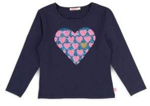 Billieblush Little Girl's Long-Sleeve Heart Jersey Tee
