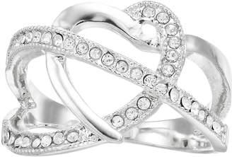 Brilliance+ Brilliance Silver Tone Swarovski Crystal Open Heart Ring