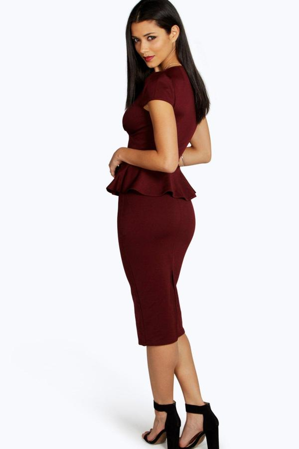 boohoo Emily Slit Neck Cap Sleeve Peplum Midi Dress 12