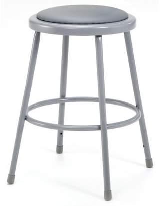 "National Public Seating NPS 24"" High Heavy Duty Vinyl Padded Steel Stool, Grey"