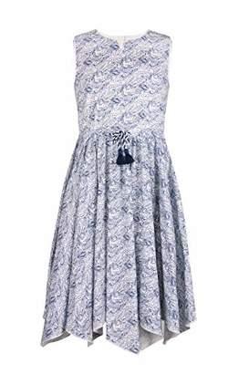 Emma Riley Girl's Printed Cotton Dress Sleeveless Elastic Waist Drawstring Casual Dress 6