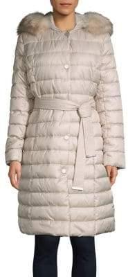 Kenneth Cole New York Belted Faux-Fur Trim Walker Coat