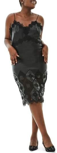 ELVI The Aster Honeycomb Lace Trim Faux Leather Dress