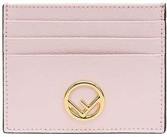 Fendi pink logo leather cardholder