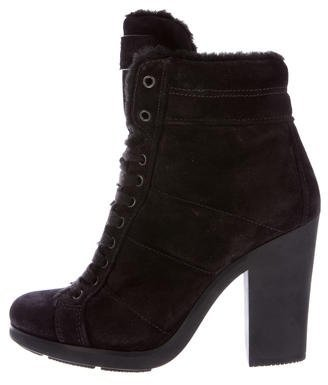 pradaPrada Shearling-Trimmed Suede Ankle Boots