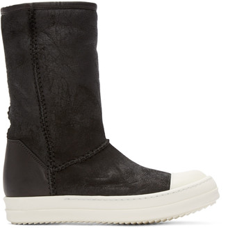 Rick Owens Black Shearling Creeper Boots $1,325 thestylecure.com