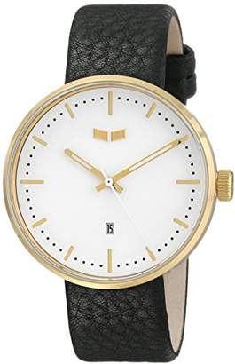 """Vestal Men's ROS3L005 """"Roosevelt"""" Stainless Steel Watch with Black Leather Band"""